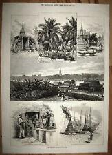 THAILAND - Wat Chang Rob – usw.. Großer originaler Holzstich 1875