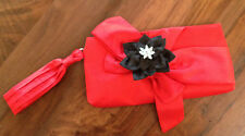 Flower Fabric Clutch Purse Brooch Embellished Floral Pendant Red Black Bow New