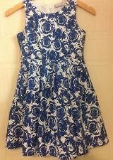 Matalan Girlswear Blue White Floral Rose Fit Flare Sleeveless Dress Age 9 10
