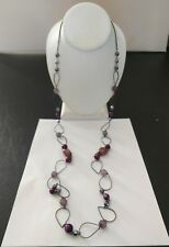 "Premier Designs Jewelry RHAPSODY 48"" Hematite, Beads/Faux Nuggets Necklace NWOT"