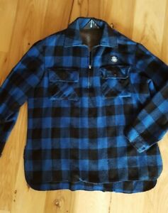 Swanndri Vintage Mens 1/4 Zip Wool Shirt Blue Plaid Bush New Zealand Size XL