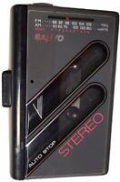 VTG SANYO Stereo M-GR62 Black Walkman Cassette Radio Player WORKING FREE SHIP-