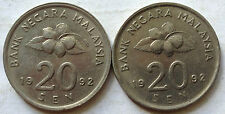 Second Series 20 sen coin 1992 2 pcs