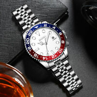 Mens Business Watch Stainless Steel Blue Red Dial Analog Quartz Watch White Face