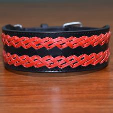 """Braided Leather Dog Collar Heavy Duty XXL 2"""" Wide Pet Collar Pit Bull Mastiff"""