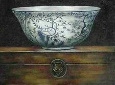Stunning Oil painting still life big blue and white porcelain bowl on box canvas