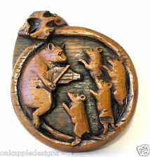 Cat Mice Dancing Fiddle Medieval Reproduction Cathedral carving Ornament Mouse