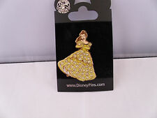 Disney * PRINCESS BELLE * JEWELED DRESS * Retired / New on Card Pave Trading Pin