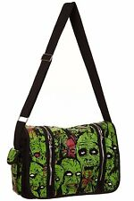 BANNED Schwarz Grün Zombie Army Messenger BAG Psychobilly Horror Punk Goth Rock