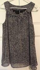 Nue Options Sz PL Black&Gray Print Sleeveless Ruffled Neck Lined Semi-Sheer Top