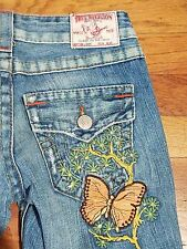 True Religion Rare JOEY Flare Women's Jeans with Embroidered Butterfly, Size 25