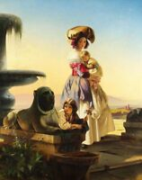 """oil painting on canvas """"Italian woman with children on the stairs """"@N10815"""