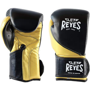 Cleto Reyes High Precision Hook and Loop Boxing Gloves - Black/Solid Gold