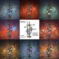 Turkish Moroccan Mosaic Table Lamp,3 Globes Bohemian Bedside Lamp LampshadeUK/US