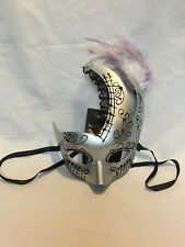 Classic Mardi Gras Venetian Ball Masquerade Mask Halloween Tie Back Purple Feath