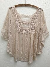 Ivory Crochet/Lace Loose Fit Festival Top Butterfly Sleeves Romantic Feminine L
