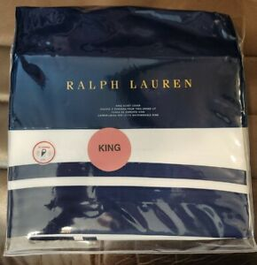 Ralph Lauren Home Bowery Polo Navy  King Duvet Cover retail $470