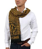 Roberto Cavalli ESZ056 01004 Mustard Wool Blend Leopard Print Mens Scarf