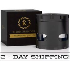 Herb Grinder Luxury Extra Sharp Powerful Tobacco/Spice Crusher - Black/Gold
