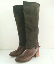 ALTO GRADIMENTO Knee High Tall Riding Boots olive green suede leather 38 8 Italy