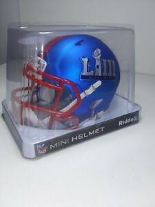 02/03/19 Patriots Super Bowl LIII Riddell Blue Speed Mini Football Helmet .New