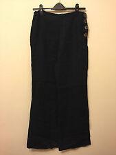 Women's Nougat London Dark Blue Linen Flared Trousers Size 1 UK 8 (Used)