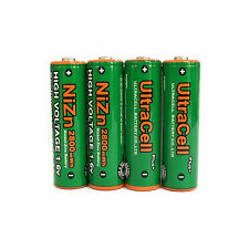 4 pcs 2800mWh AA NiZn 1.6V Volt Rechargeable Battery 2A LR06 Ultracell Green
