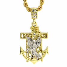 """Mens 14K Gold Plated Dove Anchor Hip-Hop 4 mm/24"""" Rope Chain With pendant"""