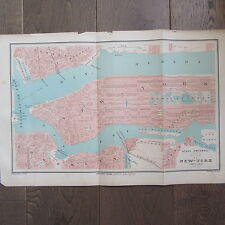 CARTE GEOGRAPHIQUE ANCIENNE 1875 PLAN DE VILLE NEW YORK MANHATTAN ETATS UNIS