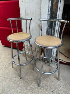 Modern Chrome Bar Stools Chairs x 2
