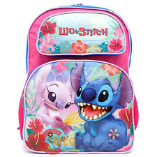 """Disney Lilo and Stitch Large School Backpack 16"""" Girls Book Bag with Angel Pink"""