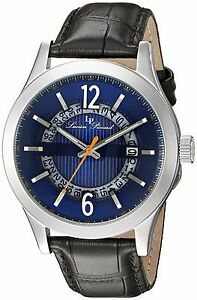 Lucien Piccard 40020-03 Blue Dial Black Leather Strap Men's Quartz Watch