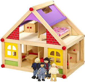 Wooden Dolls House With Furniture and Doll Family Kids Chidrens Fun Play Set New