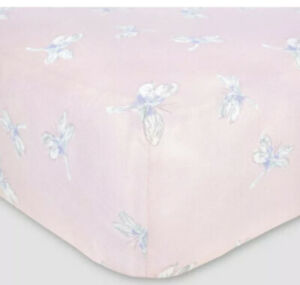 Burt's Bees Baby Organic Cotton Fitted Jersey Crib Sheet Dragonfly Pink Girls