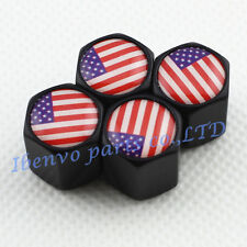 Black Styling Metal Car Wheel Tyre Tire Stem Air Valve Cap For U.S. Old Glory