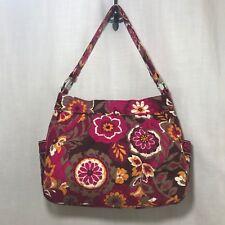 Vera Bradley Carnaby Hobo Handbag Purse Reversible Pink Orange Brown Retired