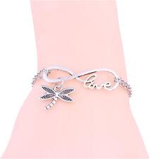 Hot Women Silver Lettering  Dragonfly Love Infinity Pendant Bracelet Chain Charm