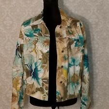 CARIBBEAN JOE Women's Jean Jacket Size Medium Floral Design Hawaiian Aloha