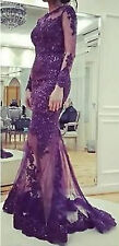 Long Sleeve Purple Lace Evening Party Bridesmaid Dress Prom Wedding Pageant Gown