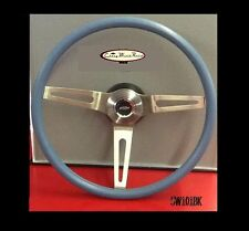 CAMARO CHEVELLE NOVA 3 SPOKE COMFORT GRIP STEERING WHEEL KIT BLUE 15""