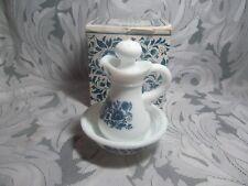 Vintage 1970s AVON Milk Glass Pitcher and Bowl Set Delft Blue  Cruet Full w/Box