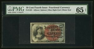 1869-75 10 CENTS FRACTIONAL CURRENCY FR1261 CERTIFIED PMG GEM UNCIRCULATED 65EPQ