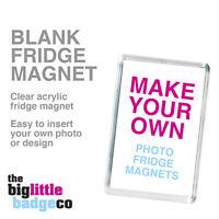 BLANK FRIDGE MAGNET * ACRYLIC 70mm x 45mm * Insert your own photo or logo
