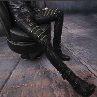 New Punk  Mens Slim Fit Patent Leather Gothic Biker Pants Buckle Zip Trousers