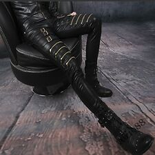 Mens Synthetic Leather Buckle Zip Skinny Punk Trousers Slim Fit Gothic Pants AU