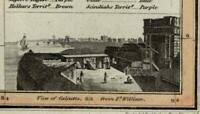 Hindoostan India vignette view of Calcutta c.1821 old Thomson Wyld Hewitt map