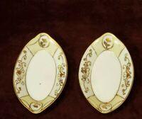 Vintage Nippon Hand Painted Set of 2 Trinket Dishes Gold Moriage Old Spoke Mark