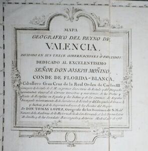 1788 Mapa Geografico del Reyno de VALENCIA by Don Tomas LOPEZ 82x77cm Linen Back