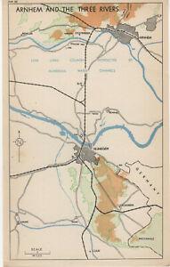 Vintage Map WW2 Arnheim & The Three Rivers Njimegern & Oosterbeek