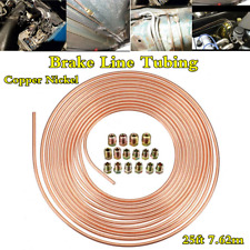 "Length 7.62m Coil Rolls 3/16"" OD Copper Nickel Brake Line Tubing Hose+16Pcs Nuts"